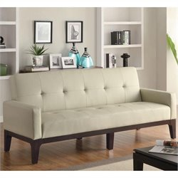 Coaster Casual Faux Leather Sofa with Arms in Cream