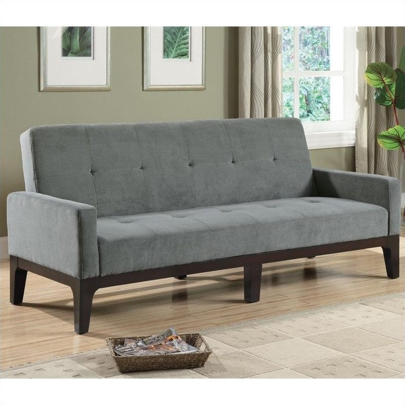 Casual Microfiber Sofa with Arms in Grey
