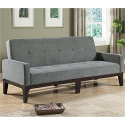 Coaster Casual Microfiber Sofa with Arms in Grey