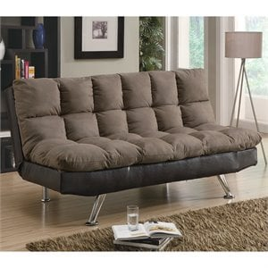 Coaster Plush Two Tone Microfiber Sofa in Brown