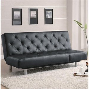 Coaster Durable Faux Leather Sofa in Black