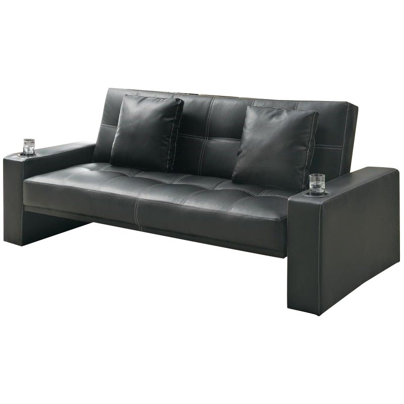 Coaster sofa sleeper with cup holders in black modern loveseat 21032406202 ebay Loveseat with cup holders
