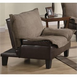 Coaster Twill Microfiber Convertible Sofa Bed in Brown