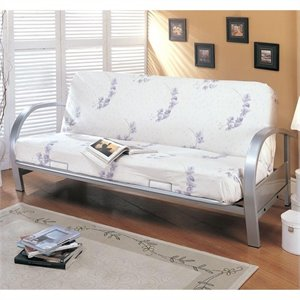 Coaster Contemporary Nicke Metal Futon Frame in Silver
