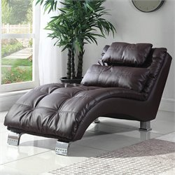 Coaster Faux Leather Chaise in Brown
