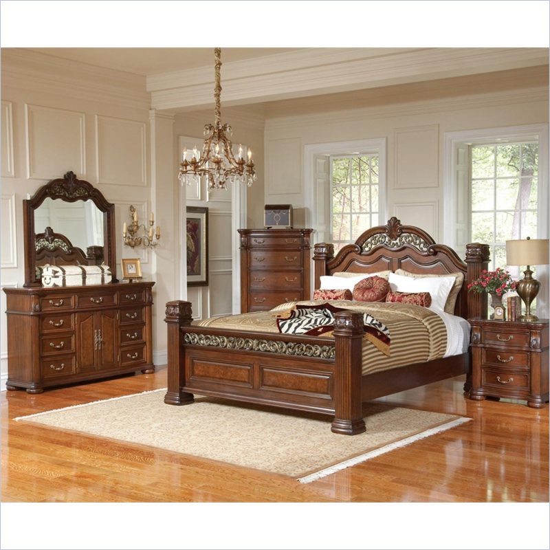 DuBarry 4 Piece Bedoom Set in Rich Brown Finish