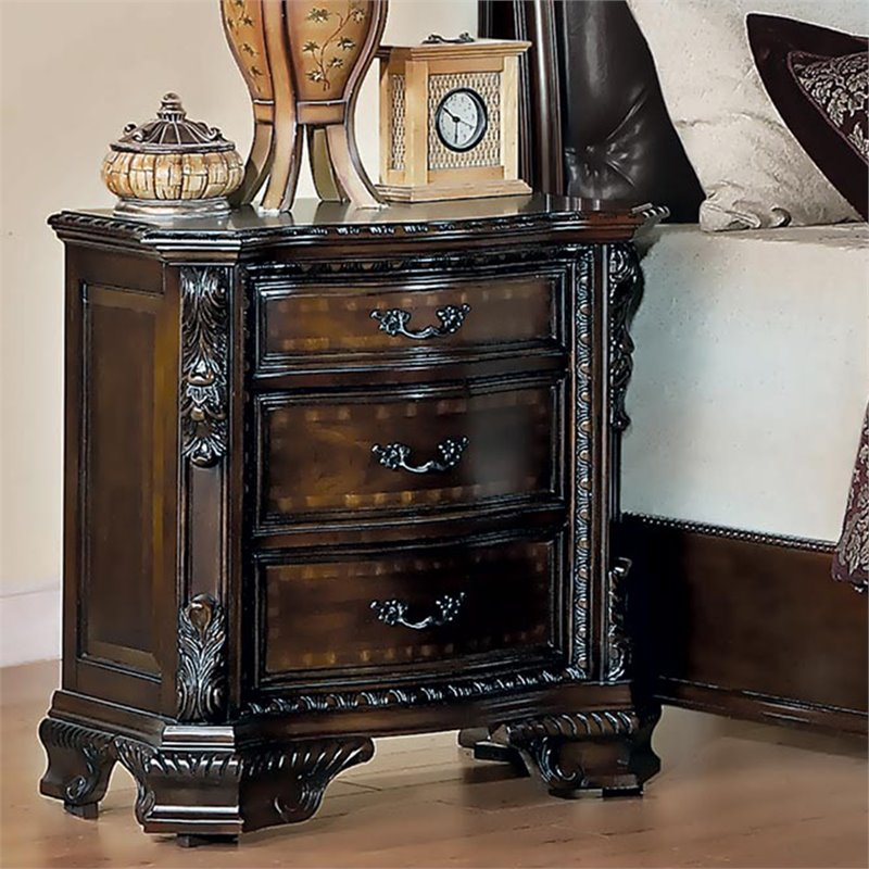 Maddison Nightstand in Brown Cherry Finish