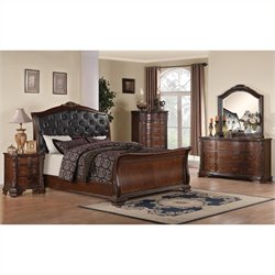 Coaster Maddison 4 Piece Bedoom Set in Warm Brown Cherry Finish