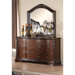 Coaster Maddison Dresser and Mirror Set in Warm Brown Cherry Finish