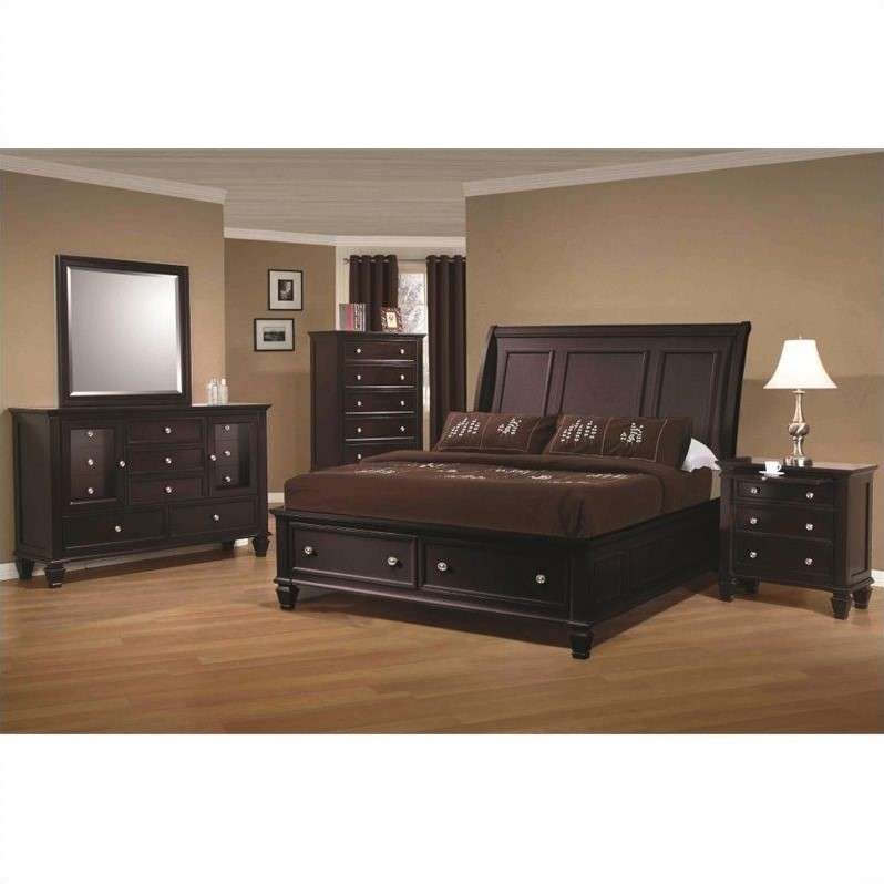 Coaster Sandy Beach 4 Piece Bedroom Set in Cappuccino Finish