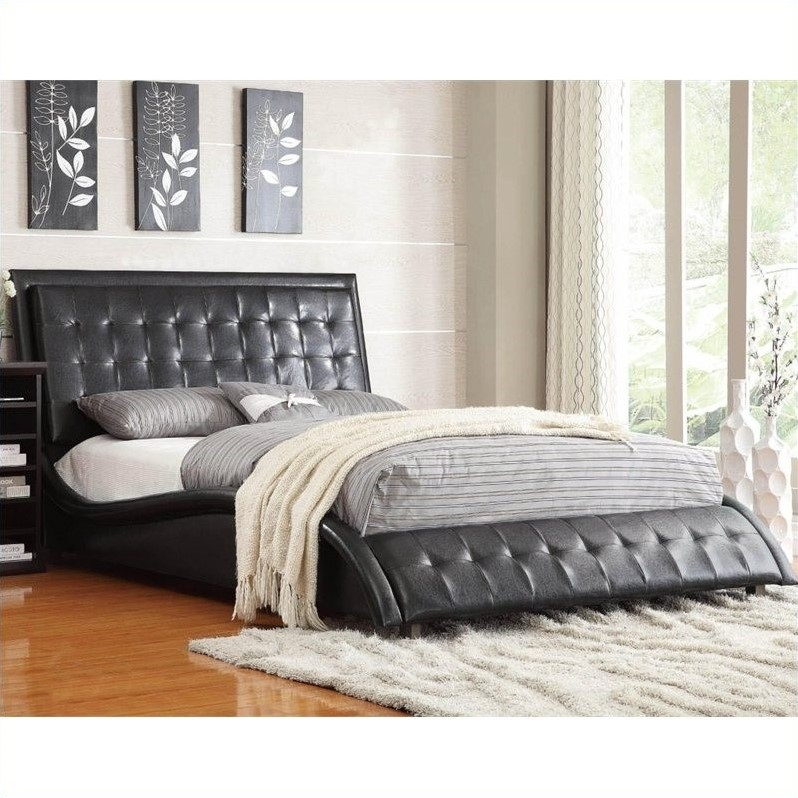 Tully Upholstered Queen Bed in Black Vinyl