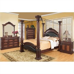 Coaster Grand Prado 6 Piece Bedroom Set in Warm Cherry Finish
