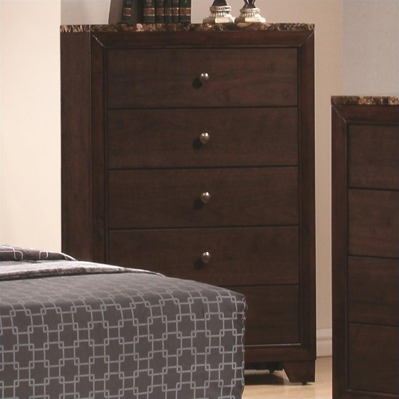 Conner 5 Drawer Chest with Faux Marble Top in Walnut