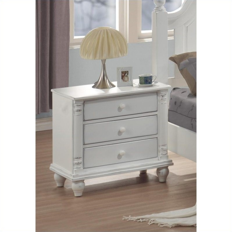 Coaster Kayla 3 Drawer Nightstand in Distressed White Finish