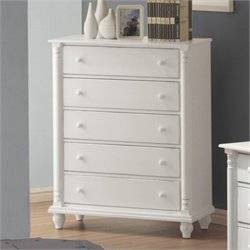 Coaster Kayla 5 Drawer Chest in Distressed White Finish