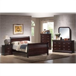 Coaster Louis Philippe Queen 4 Piece Bedroom Set in Cappuccino Finish