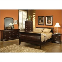 Coaster Louis Philippe Queen 6 Piece Bedroom Set in Cappuccino Finish