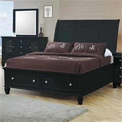 Coaster Sandy Beach Sleigh Bed with Storage Footboard in Black - Queen