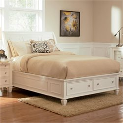Coaster Sandy Beach Sleigh Bed with Storage Footboard in White - Queen