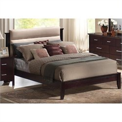 Coaster Kendra Upholstered Mahogany Platform Bed 3 Piece Bedroom Set