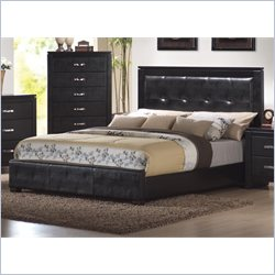 Coaster Dylan Upholstered Low Profile Bed 3 Piece Bedroom Set in Black