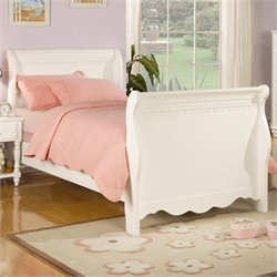 Coaster Pepper Sleigh Bed in White - TWIN