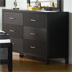 Coaster Grove Double 6 Drawer Dresser in Black Finish