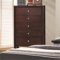 Coaster Serenity 5 Drawer Chest in Rich Merlot Finish
