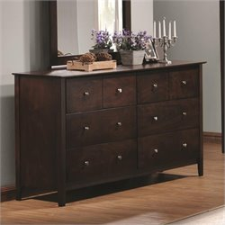 Coaster Tia 6 Drawer Double Dresser in Warm Cappuccino Finish