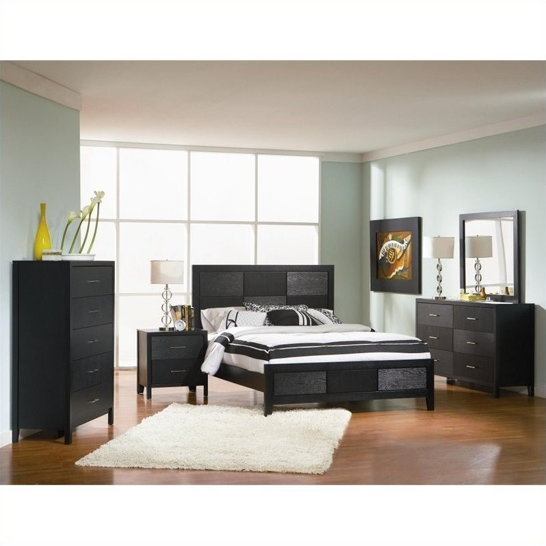 Coaster Grove 4 Piece Bedroom Set in Black Finish