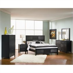 Coaster Grove 5 Piece Bedroom Set in Black Finish