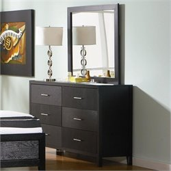 Coaster Grove Double 6 Drawer Dresser and Mirror in Black Finish