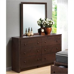 Coaster Remington Dresser and Mirror Set in Cherry Finish