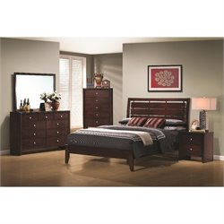 Coaster Serenity 6 Piece Bedroom Set in Rich Merlot Finish
