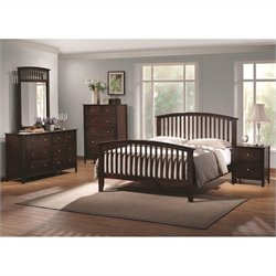 Coaster Tia 4 Piece Bedroom Set in Warm Cappuccino Finish