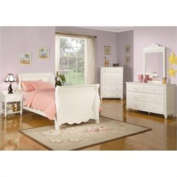 Coaster Pepper 4 Piece Youth Sleigh Bedroom In White