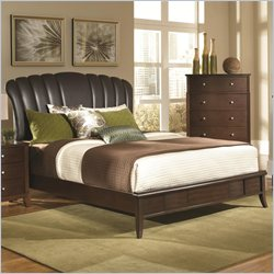 Coaster Addley Brown Upholstered Shell Bed in Dark Cherry - California King