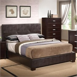 Coaster Andreas Vinyl Padded Bed in Cappuccino Brown - Queen