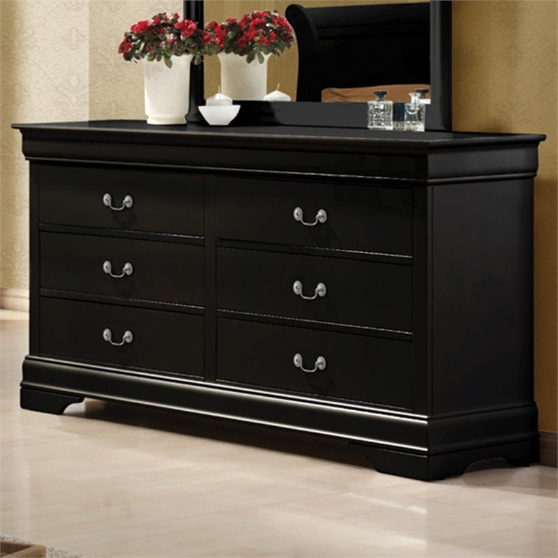 Louis Philippe 6 Drawer Double Dresser in Black