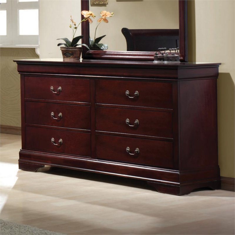 Coaster Louis Philippe 6 Drawer Double Dresser in Rich Cherry