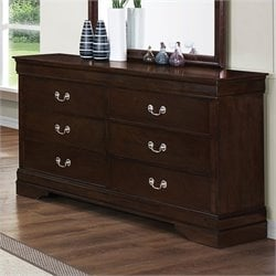 Coaster Louis Philippe 6 Drawer Double Dresser in Cappuccino