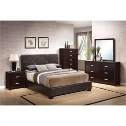 Coaster Andreas Vinyl Padded 4 Piece Bedroom Set in Cappuccino