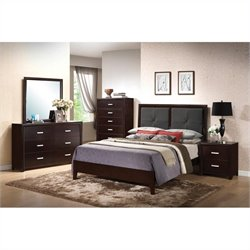 Coaster Andreas Padded Headboard Bed 5 Piece Bedroom Set