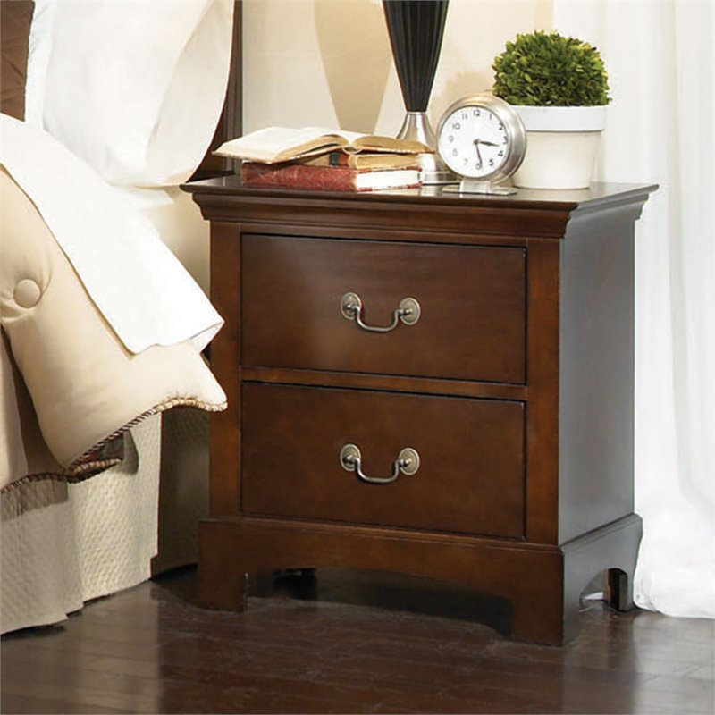 Tatiana Two Drawer Nightstand in Espresso