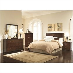 Coaster Tatiana 5 Piece Headboard Bedroom Set in Espresso