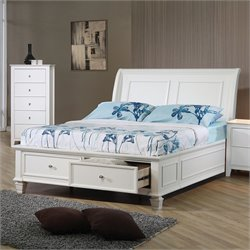 Coaster Sandy Beach Full Sleigh Bed in White Finish - Twin Size