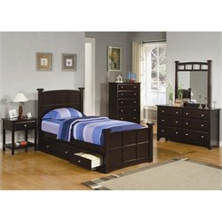 Coaster Jasper 6 Piece Bedroom Set in Rich Cappuccino Finish