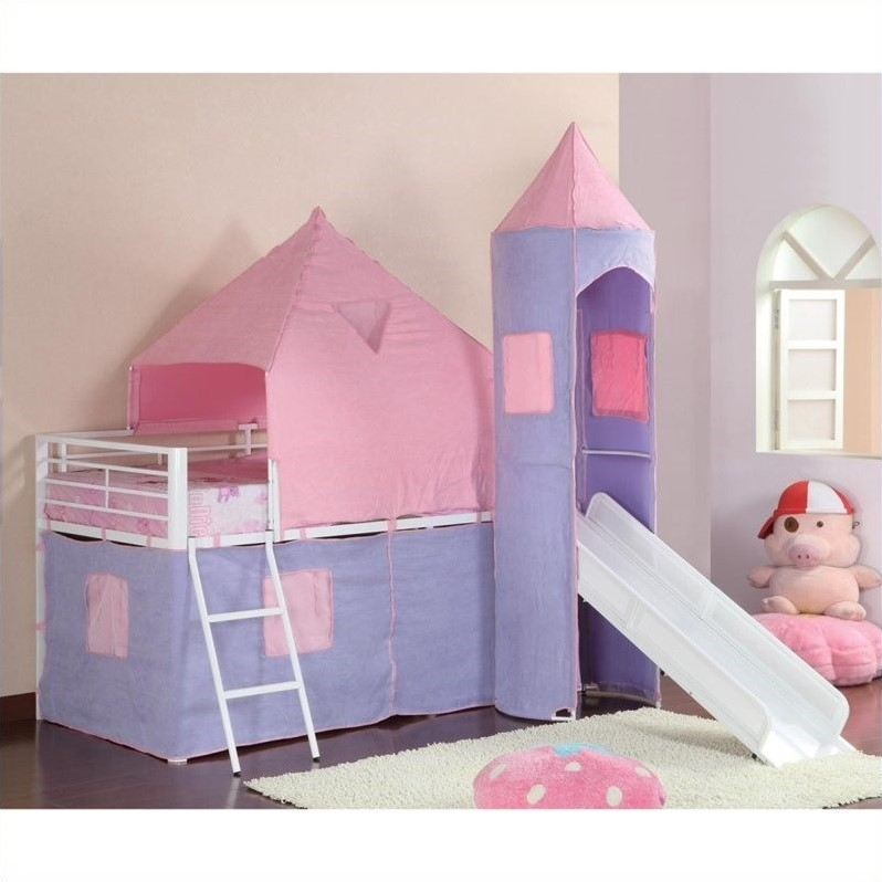 Coaster Bunks Twin Loft Bed Tent With Slide In Pink And