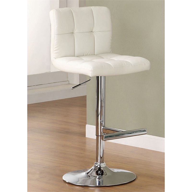 Coaster Contemporary Adjustable Chrome Bar Stool in White