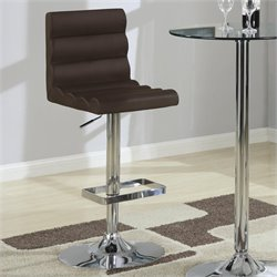 Coaster Contemporary Adjustable Bar Stool with Roll Back in Brown
